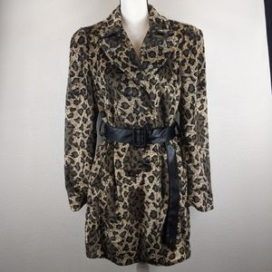 Faux Fur Leopard Print Double Breasted Peacoat XL